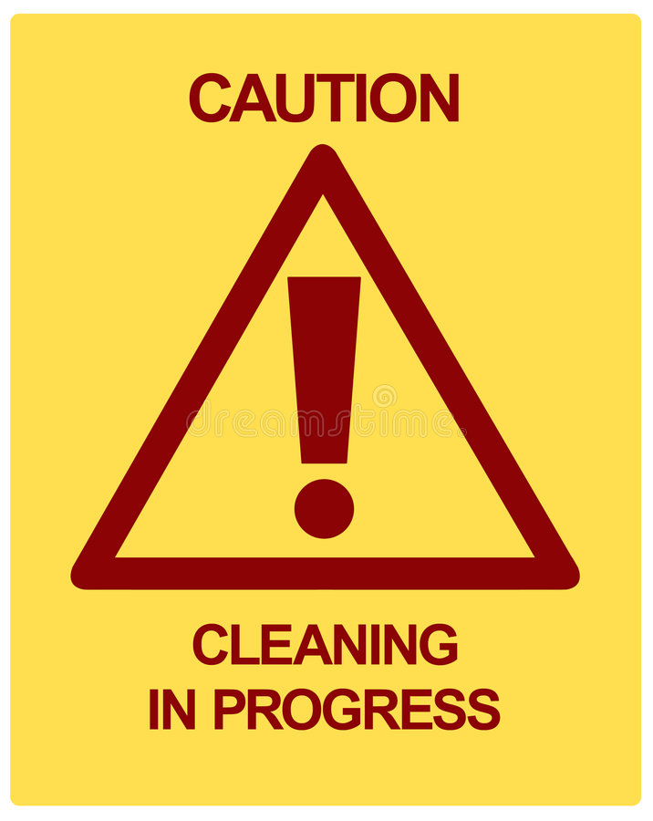 CAUTION Cleaning in Progress stock illustration