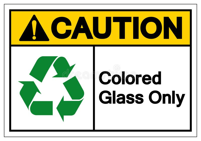 Caution Colored Glass Only Symbol Sign ,Vector Illustration, Isolate On White Background Label .EPS10 royalty free illustration