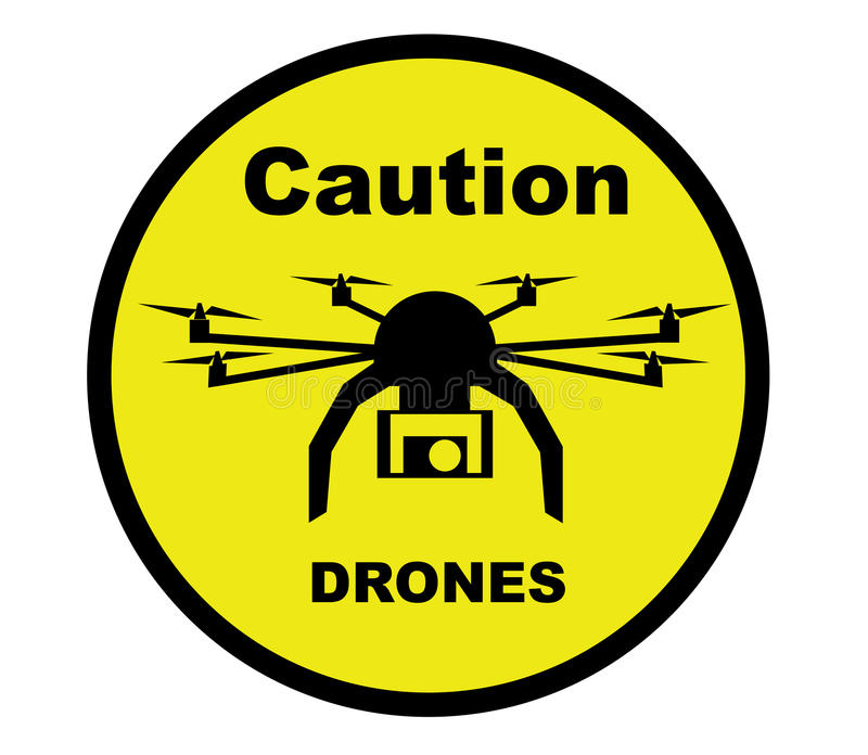 Caution Drone. A warning sign with a drone aircraft and the worlds Caution Drones