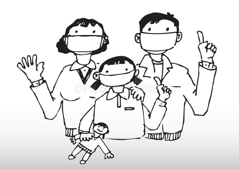 caution family flu 皇族释放例证