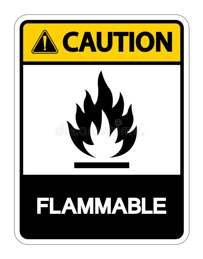 Caution Flammable Symbol Sign Isolate On White Background,Vector Illustration royalty free illustration