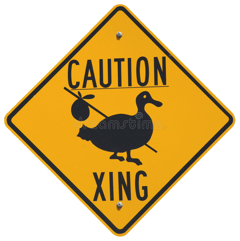Caution Goose Crossing stock image