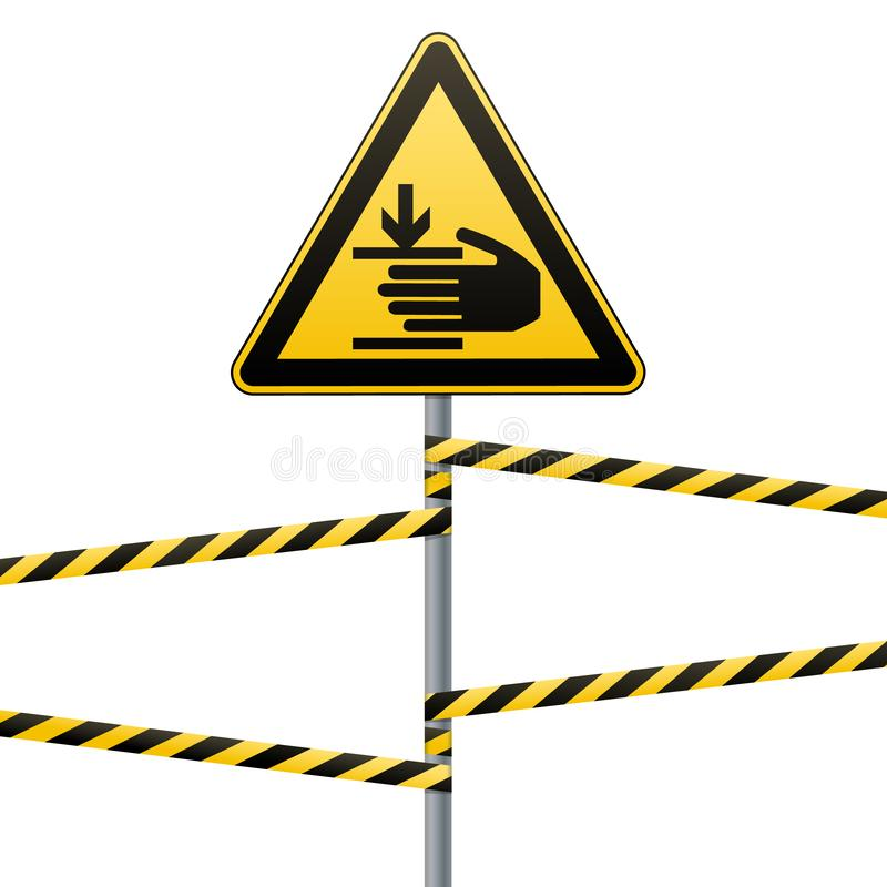 Caution, hands may be injured. Attention is dangerous. Warning sign safety. yellow triangle with black image. sign on. The pole and protecting ribbons. White vector illustration