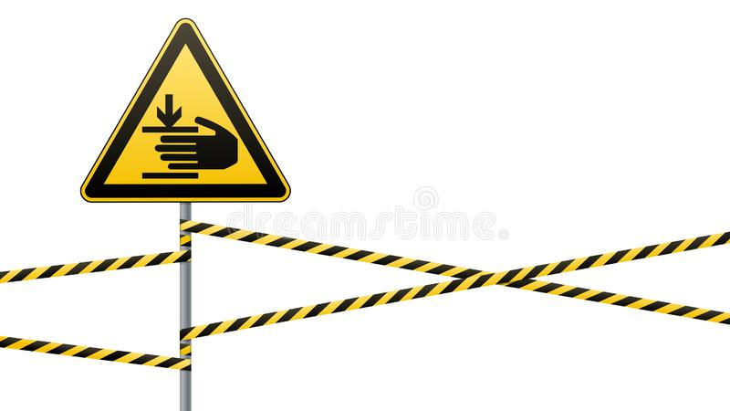 Caution, hands may be injured. Warning sign safety. Attention is dangerous. Yellow triangle with black image. Sign on. The pole and protecting ribbons. Vector royalty free illustration
