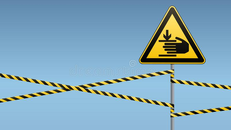 Caution, hands may be injured. Warning sign safety. Attention is dangerous. Yellow triangle with black image. Sign on. The pole and protecting ribbons. Vector vector illustration