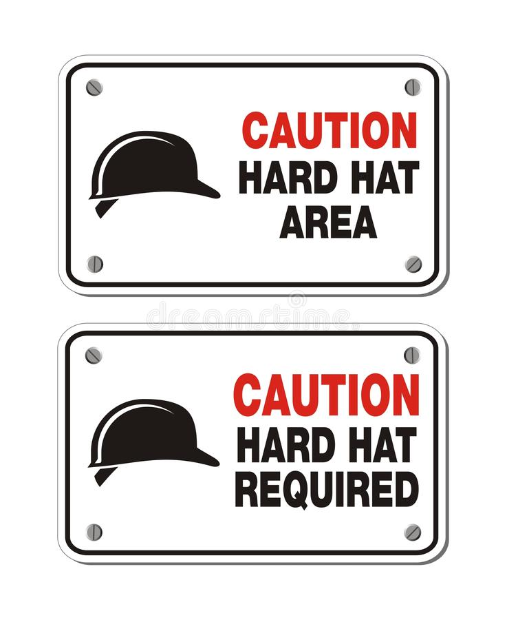 Caution hard hat area signs - rectangle signs