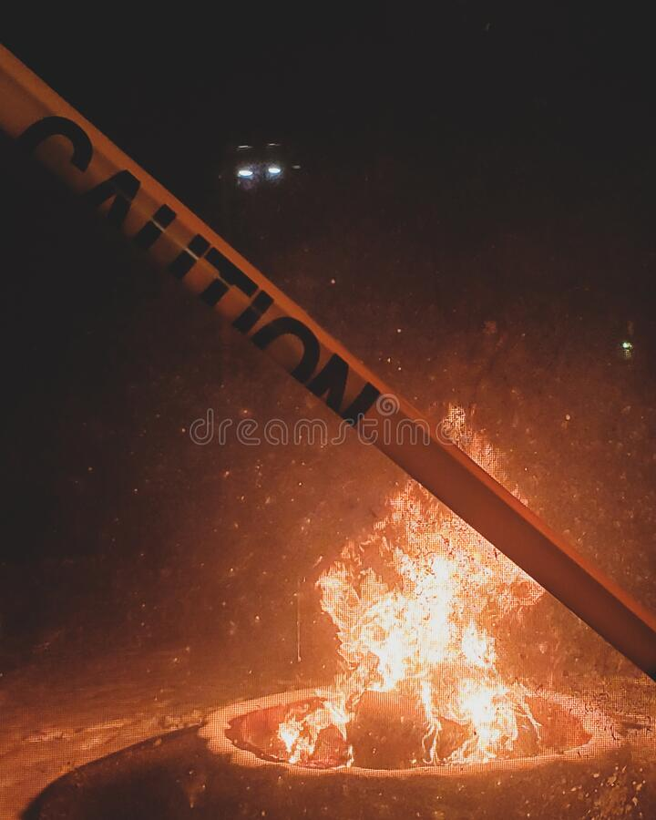 Caution: Hot. Fire, Caution Tape stock photo