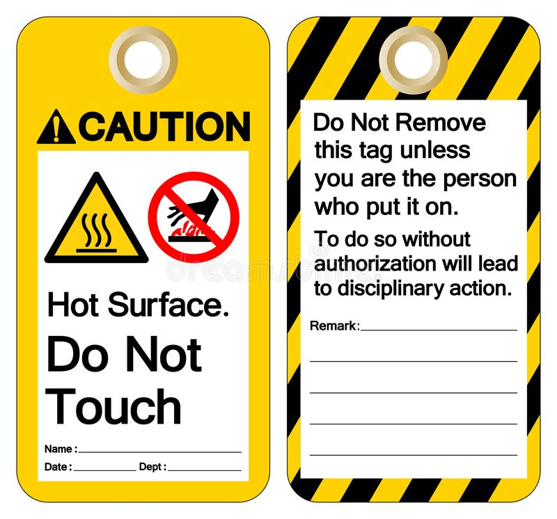 Caution Hot Surface Do not touch Symbol Sign ,Vector Illustration, Isolate On White Background Label. EPS10 stock illustration
