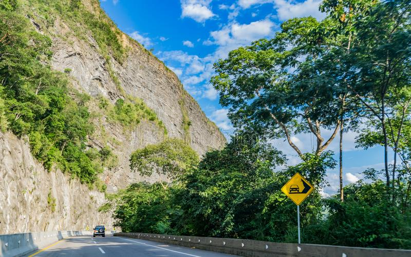 Caution landslide area royalty free stock image