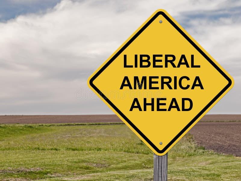 Caution - Liberal America Ahead stock photo