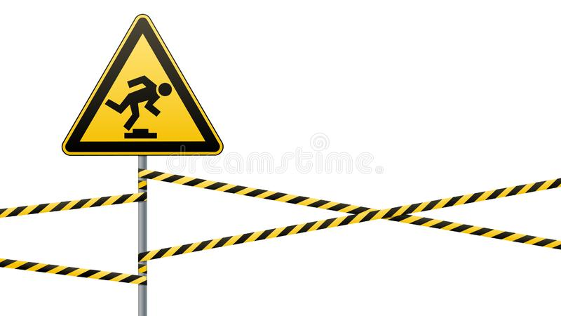 Caution, low-noticeable obstacle. Warning sign safety. Attention is dangerous. Yellow triangle with black image. Sign on. The pole and protecting ribbons royalty free illustration