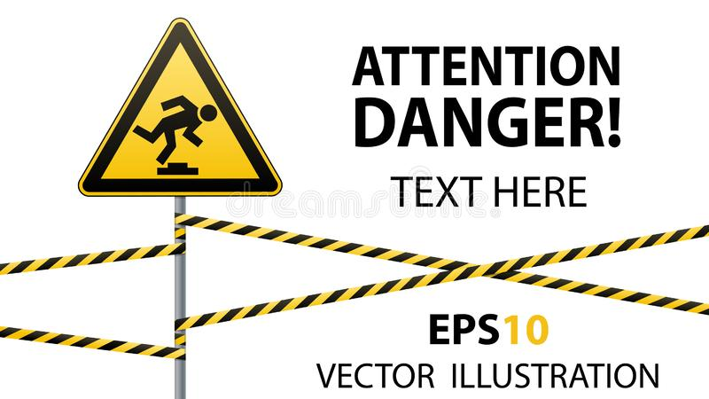 Caution, low-noticeable obstacle. Warning sign safety. Attention is dangerous. Yellow triangle with black image. Sign on. The pole and protecting ribbons vector illustration