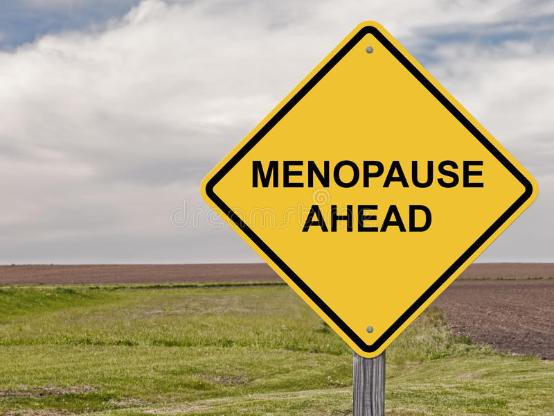 Caution - Menopause Ahead. Caution Sign Warning - Menopause Ahead stock photography