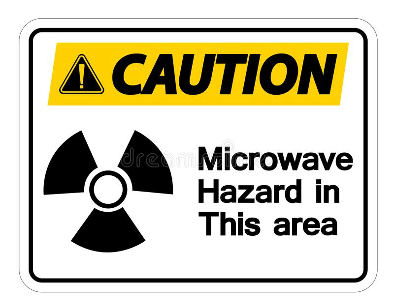 Caution Microwave Hazard Sign on white background,Vector llustration stock illustration
