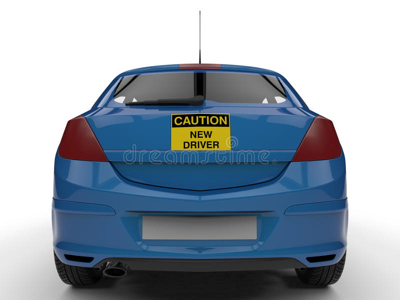 Caution new driver - back view vector illustration