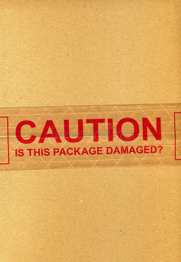 Download CAUTION Is This Package Damaged? Stock Photo - Image: 3769042