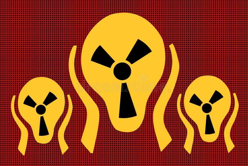 Caution radiation, scream terror fear. Comic caricature vector pop art retro illustration drawing royalty free illustration