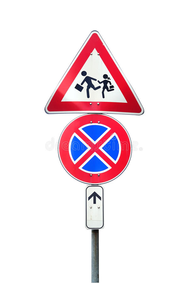 Caution school and no parking. Road signs on a white background royalty free stock photo