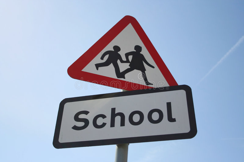 Caution school sign royalty free stock photo
