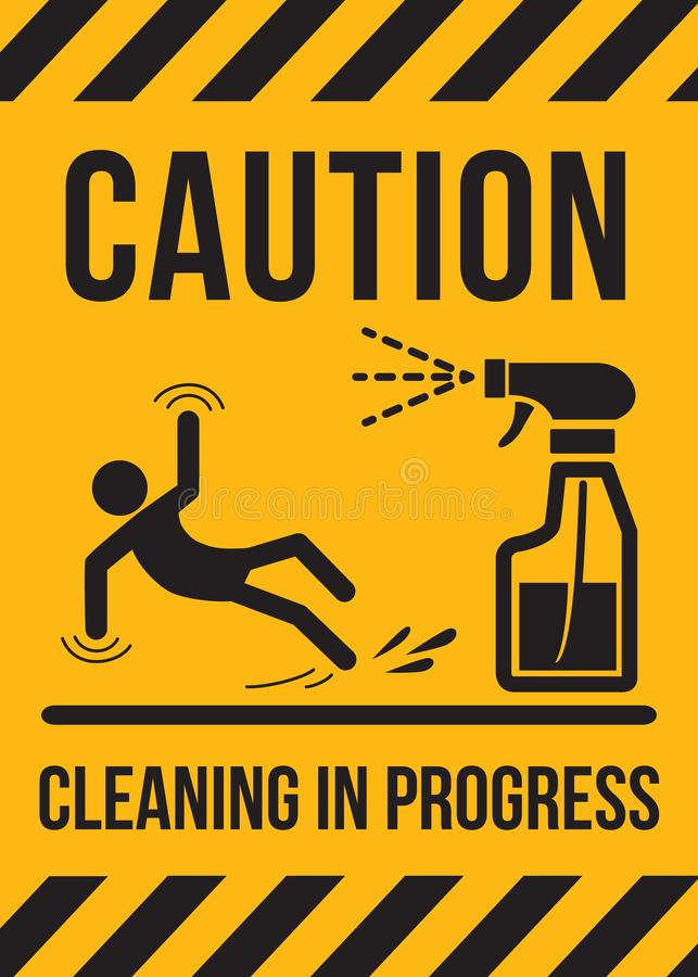 Caution sign Cleaning in progress vector illustration