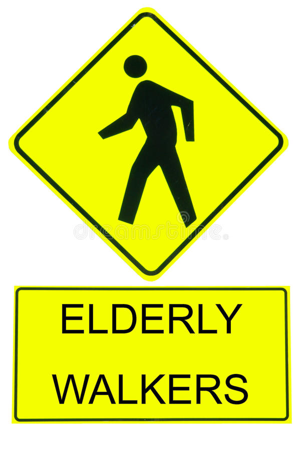 Download Caution Sign Elderly Walkers Stock Photo - Image: 12389196