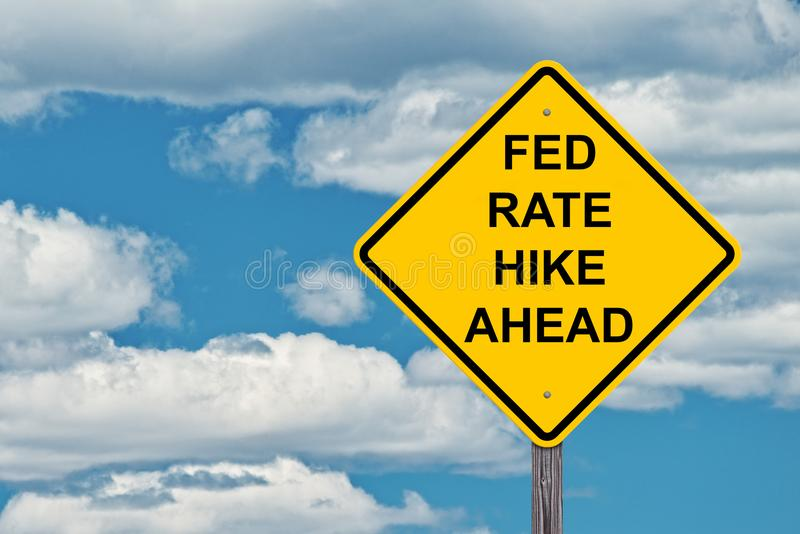Caution Sign - Fed Rate Hike Ahead. Fed Rate Hike Ahead - Caution Sign Blue Sky Background royalty free stock images