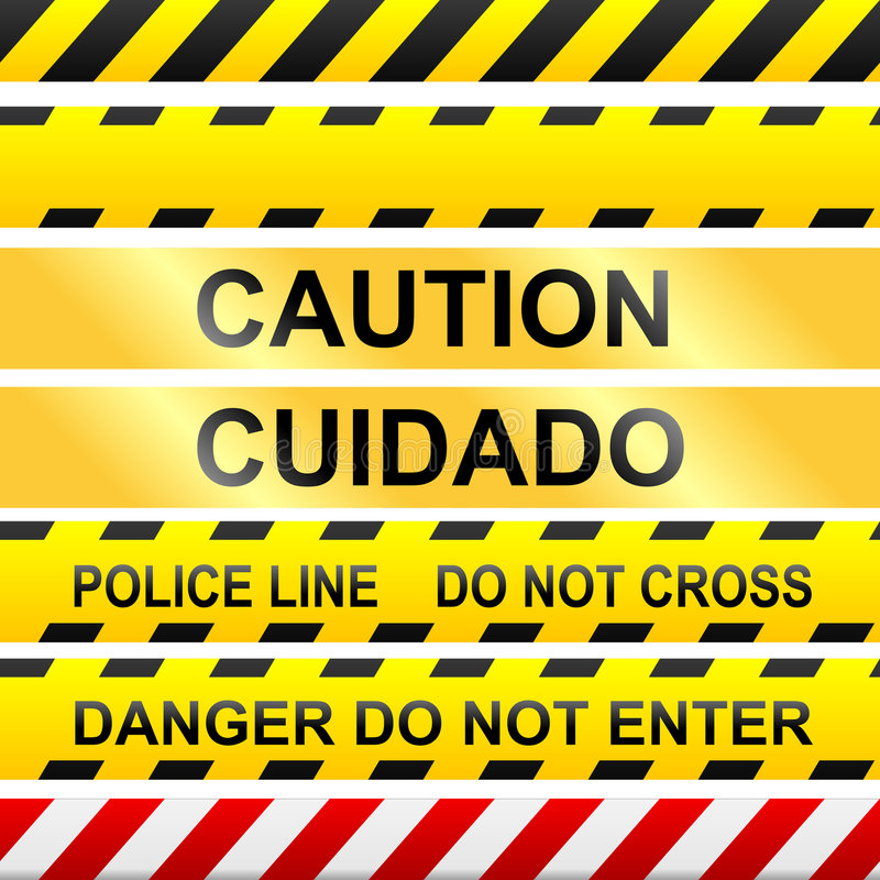 Free Caution Signs And Police Tape - Vector Royalty Free Stock Photos - 8821088