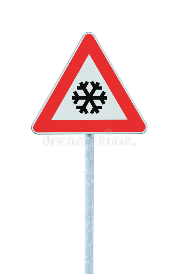 Caution, snow or ice road sign, isolated, slippery icy risky winter traffic ahead, snowfall risk warning signpost, black snowflake. Icon, red triangle frame royalty free stock photos