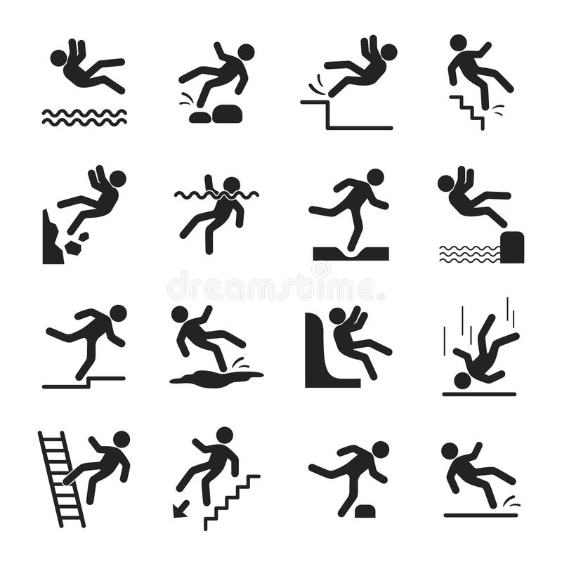 Caution symbols set. Hazard black icons, warning marks to avoid danger and accident a work, keeping safe. Vector flat style cartoon illustration isolated on stock illustration