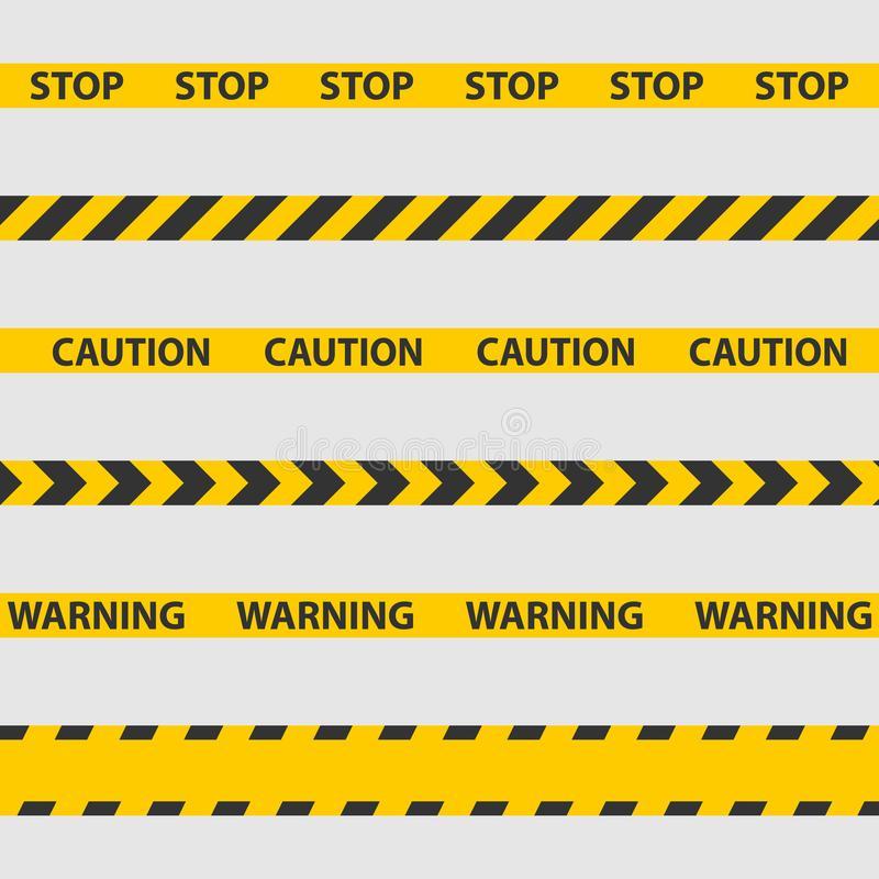 Caution tape, police line and danger tapes. vector illustration