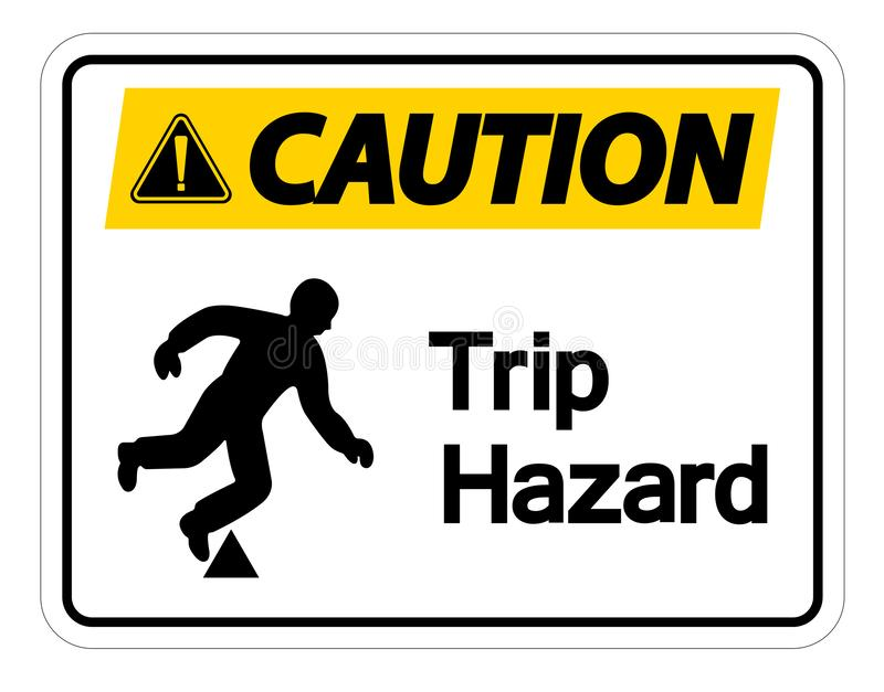 Caution Trip Hazard Symbol Sign Isolate On White Background,Vector Illustration. Alert beware accident ahead danger dangerous down drop fall foot forward icon vector illustration