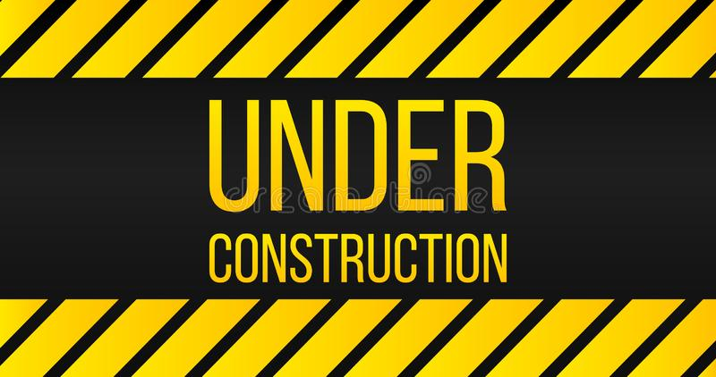 Caution Under construction sign, danger label, yellow and black colors. vector illustration. stock illustration