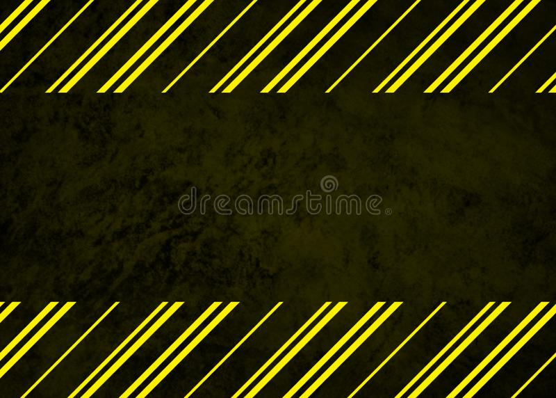 Caution or warning in black and yellow stripes on black background royalty free stock images