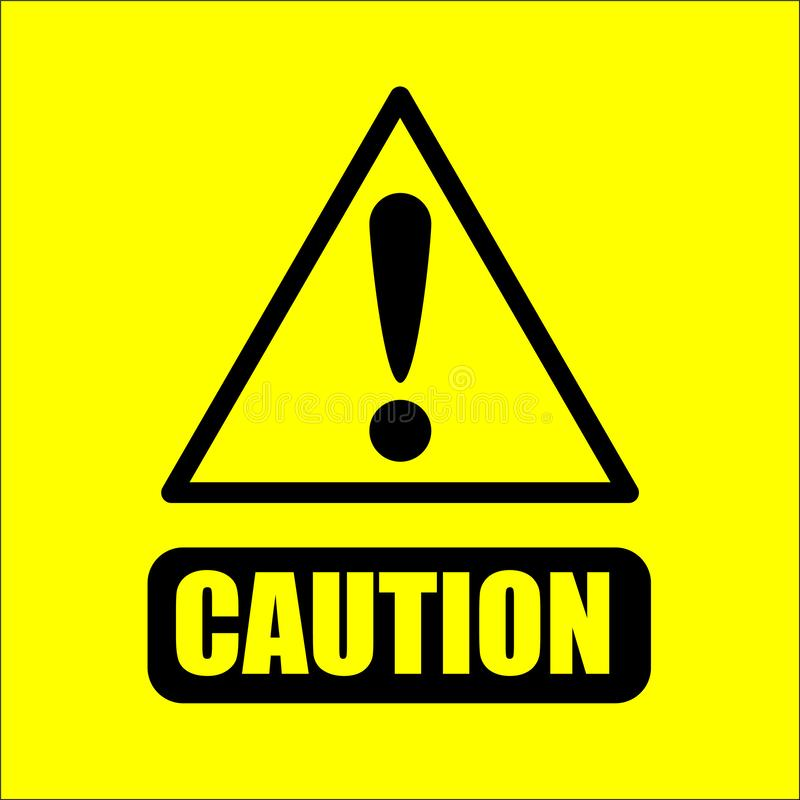 caution warning sign on yellow background vector vector illustration