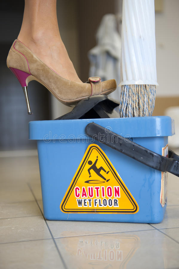 Download Caution Wet Floor stock photo. Image of cleaner, information - 21210028