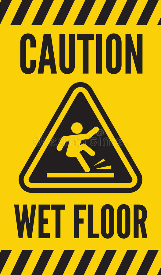 Caution Wet Floor Stock Vector Illustration Beware