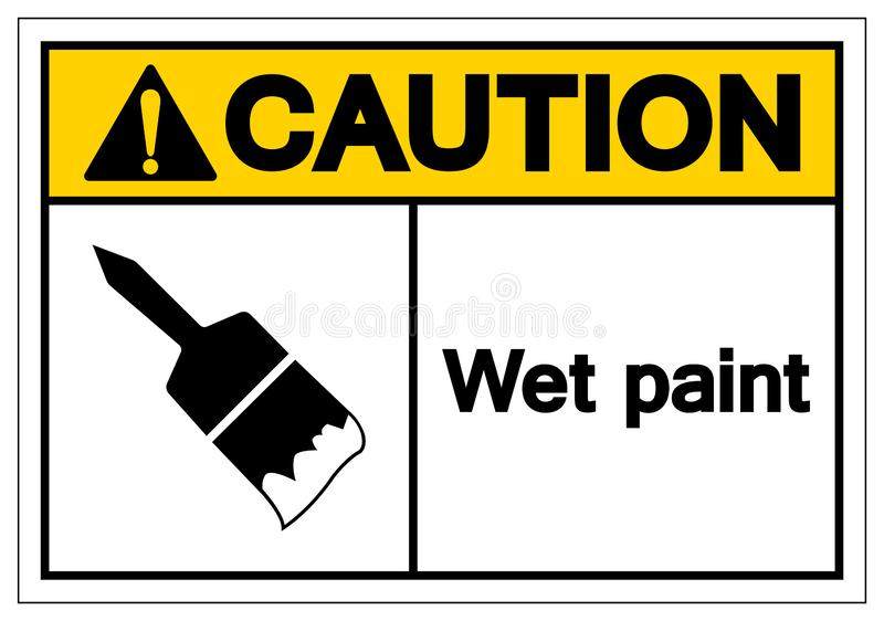 Caution Wet Paint Symbol Sign, Vector Illustration, Isolated On White Background Label .EPS10 stock illustration