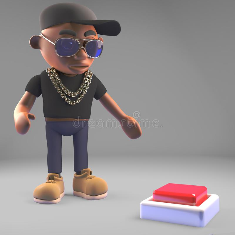Cautious black hiphop rapper looks at a button on the floor, 3d illustration. Render vector illustration