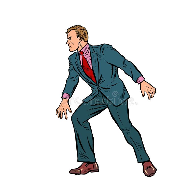 Cautious businessman sneaks, takes a step. Pop art retro vector stock illustration drawing stock illustration
