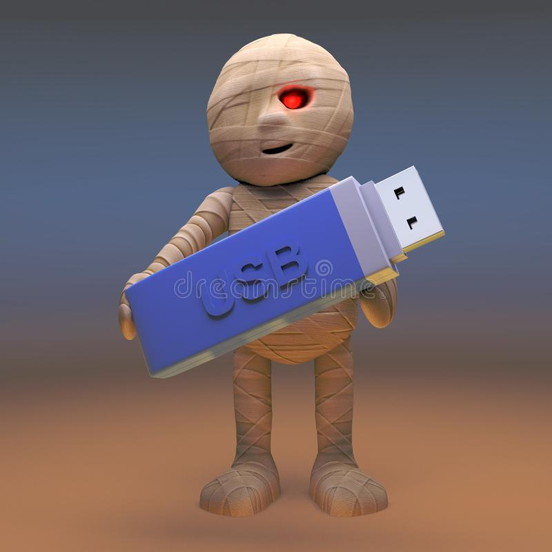 Cautious Egyptian mummy monster keeps his data safe on USB thumb drive, 3d illustration. Render royalty free illustration