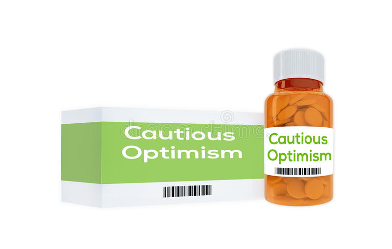 Cautious Optimism concept. 3D illustration of Cautious Optimism title on pill bottle, isolated on white stock illustration