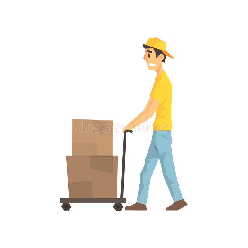 Cautious Worker With Cart An Boxes, Delivery Company Employee Delivering Shipments Illustration. Part Of Manual Laborer Loading And Bringing Items Cartoon royalty free illustration