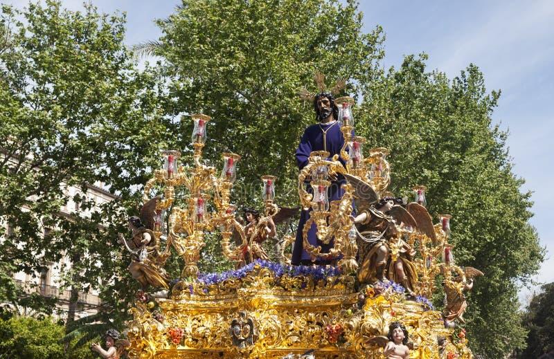 Cautivo de Jesús en la procesión de la semana santa en Sevilla imagen de archivo libre de regalías