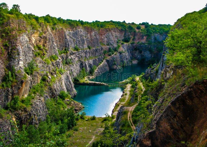Cava america - vista panoramatic di Peautiful sulla cava in repubblica Ceca fotografia stock libera da diritti