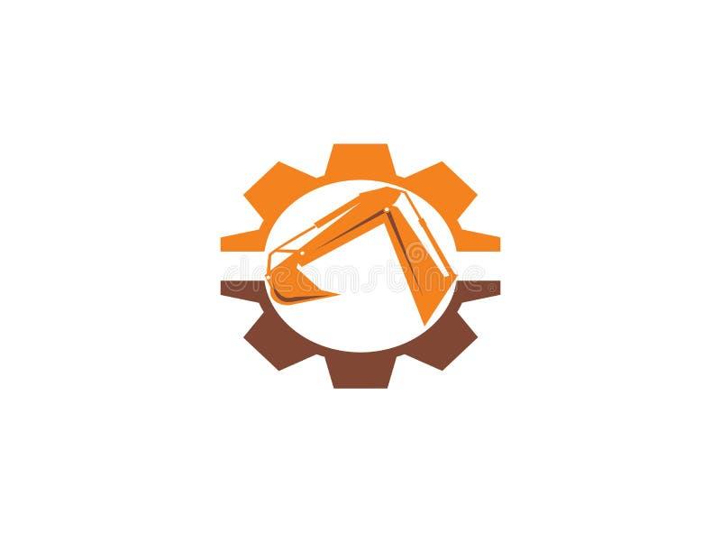 Cavador del brazo del excavador en una forma del piñón/engranaje para el ejemplo del diseño del logotipo libre illustration