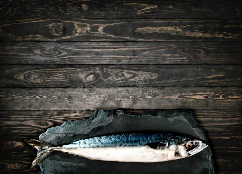 Cavala superior do viewFresh, peixe no fundo de madeira de pedra fotos de stock royalty free