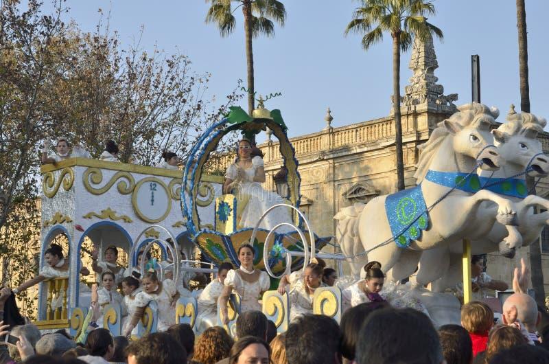 Cavalcata spagnola tradizionale del Re Magi fotografia stock