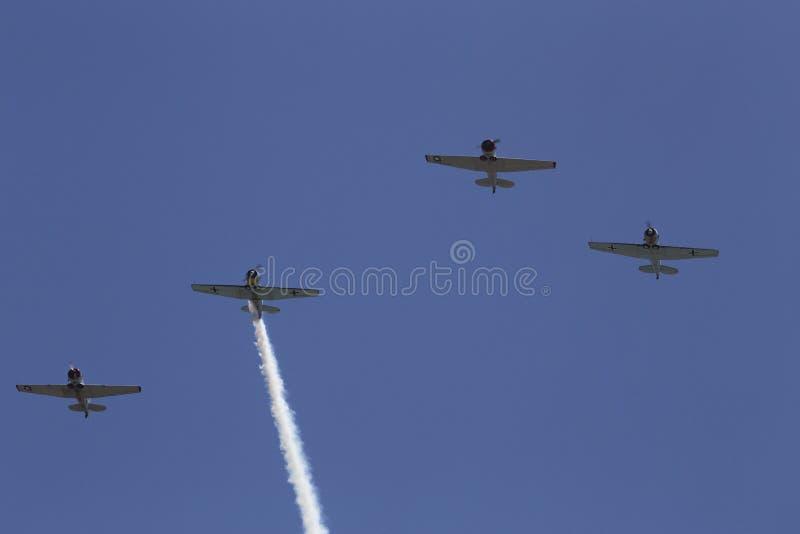 Cavalcavia dello squadrone del condor, evento commemorativo annuale del cimitero nazionale di Los Angeles, il 26 maggio 2014, Cal immagini stock