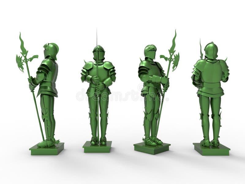 Cavaleiro blindado medieval verde ilustração do vetor