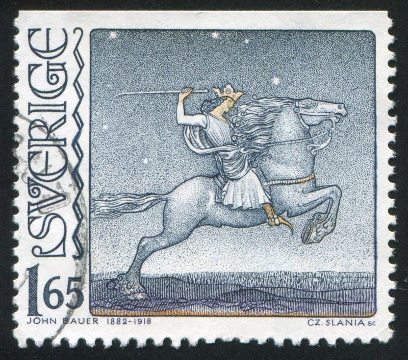 Cavaleiro a cavalo foto de stock